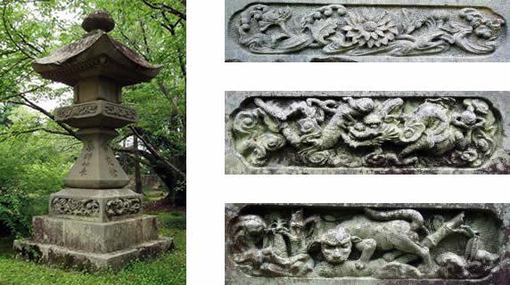 薬師堂の石灯籠と彫刻